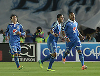 BOGOTÁ -COLOMBIA, 09-02-2014. Roman Torres (Der) de Millonarios celebra un gol en contra del Atlético Nacional durante partido por la fecha 4 de la Liga Postobón  I 2014 jugado en el estadio Nemesio Camacho el Campín de la ciudad de Bogotá./Roman Torres (R) of Millonarios celebrates a goal  against Atletico Nacional during for the 4th date of the Postobon  League I 2014 played at Nemesio Camacho El Campin stadium in Bogotá city. Photo: VizzorImage/ Gabriel Aponte / Staff