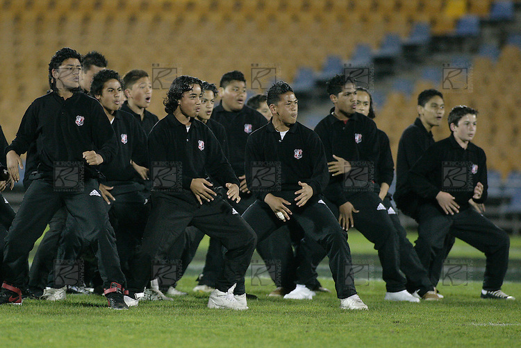 The Counties Manukau Bill McLaren team do a haka, that was especially written for them,  before the Air NZ Cup rugby game between Counties Manukau Steelers and Manawatu at Mt Smart Stadium on the 22nd of September, 2006.