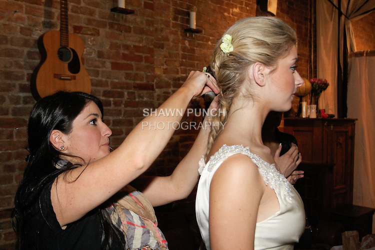 "Backstage prep for the Sarah Jassir Spring 2013 ""La Reve: The Dream"" collection fashion show, during Bridal Fashion Week New York."