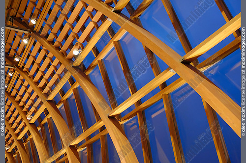 Modern wooden construction of Art Gallery of Ontario facade. Toronto Ontario Canada.