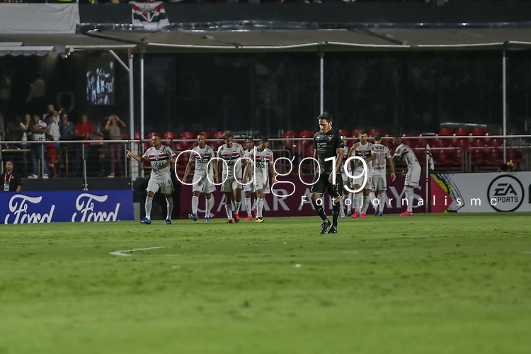 Sao Paulo (SP), 11/03/2020 - Sao Paulo-LDU - Daniel Alves, do Sao Paulo comemora seu gol, em partida contra a LDU, valida pela fase de grupos da Copa Libertadores, no Allianz Parque, em Sao Paulo (SP), nesta quarta-feira (11). (Foto: Marivaldo Oliveira/Codigo 19/Codigo 19)