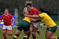 Kelly Russell is tackled during the 2017 International Women's Rugby Series rugby match between Canada and Australia Wallaroos at Smallbone Park in Rotorua, New Zealand on Saturday, 17 June 2017. Photo: Dave Lintott / lintottphoto.co.nz
