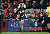 9th December 2017, Thomond Park, Limerick, Ireland; European Rugby Champions Cup, Munster versus Leicester Tigers; Jonny May, Leicester Tigers, goes highest to win the ball