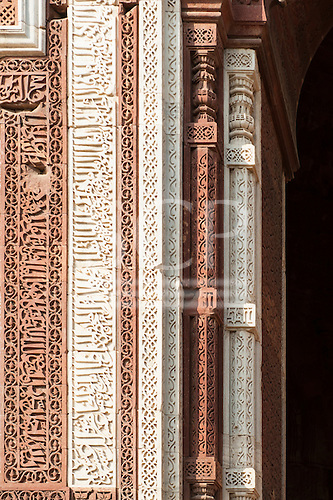 Delhi, India. Qutub Minar complex. Carved insciptions in red sandstone and marble on the Alai-Darwaza Gate, in Naskh script.