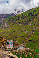 Rohtang Pass in Himachal Pradesh, India. The 13,000 foot pass, near Manali, in the Pir Panjal Range of the Himalayas connects the Kullu Valley with the Lahaul and Spiti Valleys.