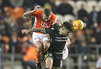 Blackpool's Jay Spearing battles with Bristol Rovers' Tom Broadbent<br /> <br /> Photographer Mick Walker/CameraSport<br /> <br /> The EFL Sky Bet League One - Blackpool v Bristol Rovers - Saturday 13th January 2018 - Bloomfield Road - Blackpool<br /> <br /> World Copyright &copy; 2018 CameraSport. All rights reserved. 43 Linden Ave. Countesthorpe. Leicester. England. LE8 5PG - Tel: +44 (0) 116 277 4147 - admin@camerasport.com - www.camerasport.com