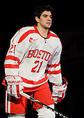 Sean Escobedo (BU - 21) - The Boston University Terriers defeated the Merrimack College Warriors 6-4 (EN) on Saturday, January 16, 2010, at Agganis Arena in Boston, Massachusetts.