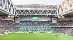 Stockholm 2014-08-24 Fotboll Superettan Hammarby IF - Ljungskile SK :  <br /> Vy &ouml;ver Tele2 Arena n&auml;r Hammarbys supportrar har ett tifo inf&ouml;r matchen mellan Hammarby och Ljungskile<br /> (Foto: Kenta J&ouml;nsson) Nyckelord:  Superettan Tele2 Arena Hammarby HIF Bajen Ljungskile LSK supporter fans publik supporters tifo