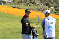 Jon Rahm (ESP) waits on the 8th tee during Sunday's Final Round of the 2018 AT&amp;T Pebble Beach Pro-Am, held on Pebble Beach Golf Course, Monterey,  California, USA. 11th February 2018.<br /> Picture: Eoin Clarke | Golffile<br /> <br /> <br /> All photos usage must carry mandatory copyright credit (&copy; Golffile | Eoin Clarke)