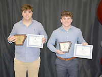Graham Thomas/Herald-Leader<br /> Siloam Springs football seniors Corbin Collins, left, and Kaiden Thrailkill earned All-State honors in Class 6A as voted on by the conference coaches.