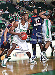 North Texas Mean Green forward George Odufuwa (4) in action during the NCAA  basketball game between the South Alabama Jaguars and the University of North Texas Mean Green at the North Texas Coliseum,the Super Pit, in Denton, Texas. UNT defeated South Alabama 82 to 79...