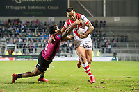 Picture by Allan McKenzie/SWpix.com - 06/04/2018 - Rugby League - Betfred Super League - St Helens v Hull FC - The Totally Wicked Stadium, Langtree Park, St Helens, England - Hull FC's Albert Kelly is unable to prevent St Helens's Zeb Taia from scoring a try.
