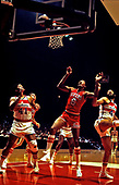"""Wes Unseld (41) of the Washington Bullets looks on as Julius Erving (6), also known as """"Dr. J,"""" makes a jump shot during a game between the Bullets and the Philadelphia 76ers at the Capital Centre in Landover, Maryland on 10 October, 1980.<br /> Credit: Arnie Sachs / CNP"""
