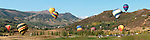Panoramic view of hot air balloons at the Snowmass Balloon Festival, Sept. 18-20, 2009