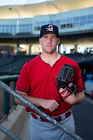 Springfield Cardinals pitcher Seth Elledge (32) poses for a photo on May 16, 2019, at Arvest Ballpark in Springdale, Arkansas. (Jason Ivester/Four Seam Images)