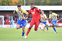Adi Yussuf of Crawley Town (21) and Matty Pearson of Accrington Stanley (2) during the Sky Bet League 2 match between Crawley Town and Accrington Stanley at Broadfield Stadium, Crawley, England on 22 October 2016. Photo by Edward Thomas / PRiME Media Images.