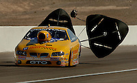 Apr 8, 2006; Las Vegas, NV, USA; NHRA Pro Stock driver Warren Johnson, driver of the GM Performance Parts Pontiac GTO slows to a stop after qualifying for the Summitracing.com Nationals at Las Vegas Motor Speedway in Las Vegas, NV. Mandatory Credit: Mark J. Rebilas