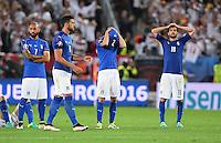 FUSSBALL EURO 2016 VIERTELFINALE IN BORDEAUX Deutschland - Italien      02.07.2016  Simone Zaza, Graziano Pelle, Mattia De Scoglio und Marco Parolo (v.l., alle Italien) sind enttaeuscht