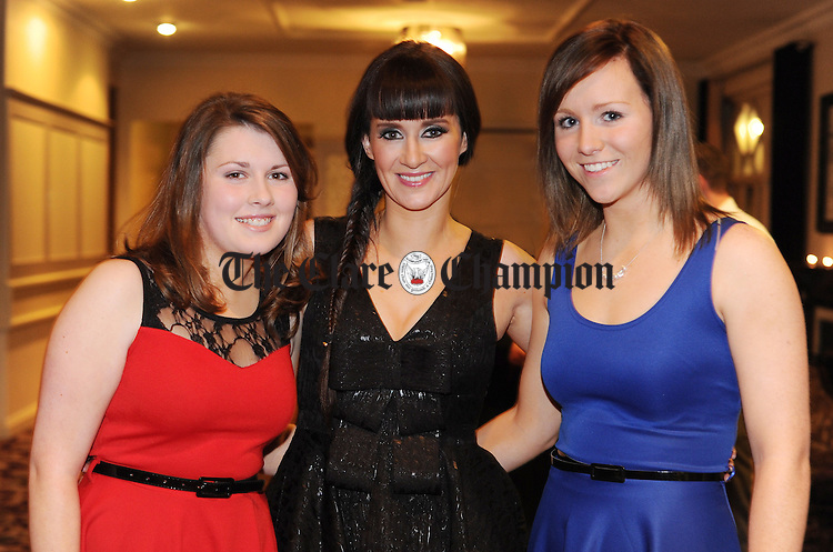 Katie Malone, Amelia Sheridan and Aoife O' Neill pictured during Éire Óg GAA's medal presentation night at the Auburn Lodge Hotel in Ennis. Photograph by Declan Monaghan
