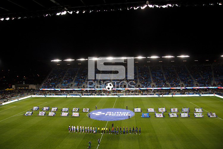 San Jose, CA - Saturday October 06, 2018: Pre-game prior to a Major League Soccer (MLS) match between the San Jose Earthquakes and the New York Red Bulls at Avaya Stadium.