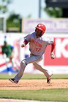 Hagerstown Suns second baseman Willie Medina (17) runs the bases during a game against the Lexington Legends on May 19, 2014 at Whitaker Bank Ballpark in Lexington, Kentucky.  Lexington defeated Hagerstown 10-8.  (Mike Janes/Four Seam Images)