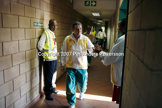 JOHANNESBURG, SOUTH AFRICA - SEPTEMBER 29: Coach Carlos Alberto Parreira walks out from the locker room as his team, the South African national team, plays badly during a friendly game against Uruguay on September 29, 2007 in Johannesburg, South Africa. The team, ranked 77 in the world, has had a history of bad performances and more than ten coaches since 1996. Carlos Alberto Parreira, the legendary Brazilian coach, now coaches them and he has the tough task of building up the team until 2010. Soccer is the most popular sport in South Africa, and because of the upcoming World Cup 2010 in South Africa the interest is increasing. For the first time the World Cup will be held on the African continent. (Photo by Per-Anders Pettersson).....