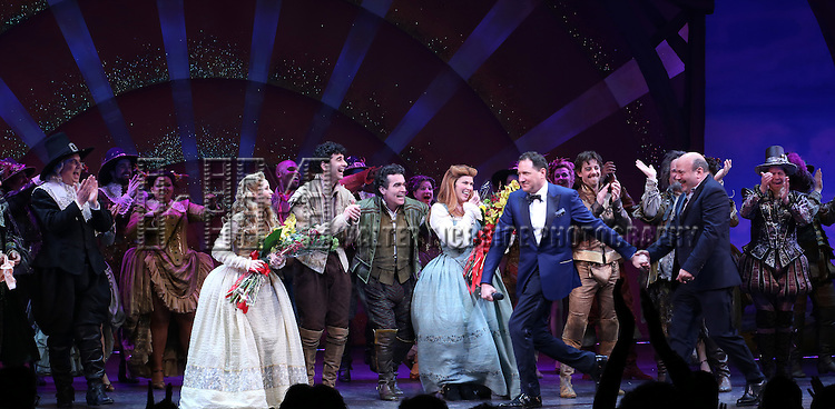 Gerry Vichi, Brooks Ashmanskas, Kate Reinders, John Cariani, Brian d'Arcy James, Heidi Blickenstaff, Kevin McCollum, Casey Nicolaw, Christian Borle, Brad Oscar and Peter Bartlett  during the Broadway Opening Night Curtain Call for 'Something Rotten' at the St. James Theatre on April 22, 2015 in New York City.