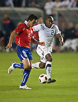 CARSON, CA – JANUARY 22: Chile forward Estaban Paredes (9) and USA defender Marvell Wynne (2) during the international friendly match between USA and Chile at the Home Depot Center, January 22, 2011 in Carson, California. Final score USA 1, Chile 1.