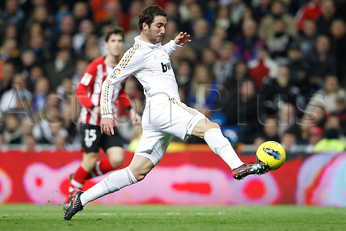 22.01.2012. Madrid Spain. La Liga  The match played between  Real Madrid and Athletic Club de Bilbao (4-1)  played at the Santiago Bernabeu Stadium.  Picture show Gonzalo Higuain (Argentine/French Forward of Real Madrid)