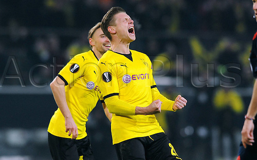 18.02.2016. Dortmund, Germany.  UEFA Europa League match at the Signal Iduna Park. Borussia Dortmund versus FC Porto. Lukasz Piszczek Borussia celebrates after his goalfor 1-0