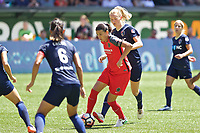 Portland, OR - Saturday July 15, 2017: Christine Sinclair, Samantha Mewis during a regular season National Women's Soccer League (NWSL) match between the Portland Thorns FC and the North Carolina Courage at Providence Park.