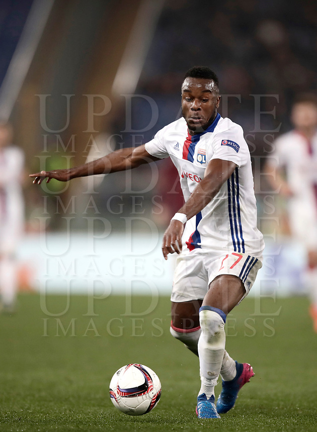 Football Soccer: Europa League Round of 16 second leg, Roma-Lyon, stadio Olimpico, Roma, Italy, March 16,  2017. <br /> Lyon's Maxwel Cornet in action during the Europe League football soccer match between Roma and Lyon at the Olympique stadium, March 16,  2017. <br /> Despite losing 2-1, Lyon reach the quarter finals for 5-4 aggregate win.<br /> UPDATE IMAGES PRESS/Isabella Bonotto