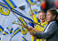 Young Leeds United fans wave flags before the teams enter to the field<br /> <br /> Photographer Alex Dodd/CameraSport<br /> <br /> The EFL Sky Bet Championship - Leeds United v Bristol City - Saturday 24th November 2018 - Elland Road - Leeds<br /> <br /> World Copyright &copy; 2018 CameraSport. All rights reserved. 43 Linden Ave. Countesthorpe. Leicester. England. LE8 5PG - Tel: +44 (0) 116 277 4147 - admin@camerasport.com - www.camerasport.com