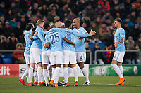 Manchester City players celebrates their side's third goal <br /> <br /> Photographer Craig Mercer/CameraSport<br /> <br /> UEFA Champions League Round of 16 First Leg - Basel v Manchester City - Tuesday 13th February 2018 - St Jakob-Park - Basel<br />  <br /> World Copyright &copy; 2018 CameraSport. All rights reserved. 43 Linden Ave. Countesthorpe. Leicester. England. LE8 5PG - Tel: +44 (0) 116 277 4147 - admin@camerasport.com - www.camerasport.com