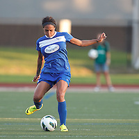 Boston Breakers forward Sydney Leroux (2) passes the ball.  In a National Women's Soccer League (NWSL) match, Boston Breakers (blue) tied Western New York Flash (white), 2-2, at Dilboy Stadium on August 3, 2013.