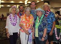 NWA Democrat-Gazette/CARIN SCHOPPMEYER Jenna Johnston (from left), Jeremy Minchew, Joyce Johnston, Drew Demorotski, Dave Demorotski and Essa Hicks enjoy the Beach Bingo Bash.