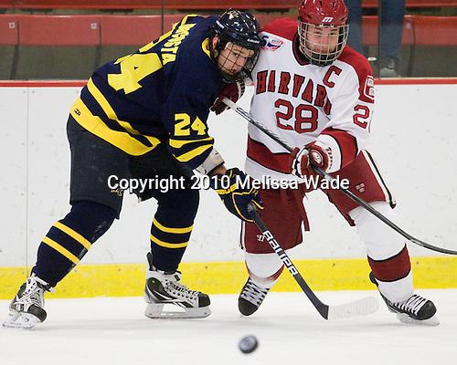 Stephane Da Costa (Merrimack - 24), Chris Huxley (Harvard - 28) - The visiting Merrimack College Warriors defeated the Harvard University Crimson 3-1 (EN) at Bright Hockey Center on Tuesday, November 30, 2010.
