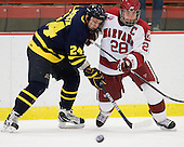 Stephane Da Costa (Merrimack - 24), Chris Huxley (Harvard - 28) - The visiting Merrimack College Warriors defeated the Harvard University Crimson 3-1 (EN) at Bright Hockey Center on Tuesday, November 30, 2010.