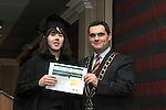 Mayor Kevin Callan presents Aaron Connor with his ESLO Certificate in the Westcourt Hotel...(Photo credit should read Jenny Matthews www.newsfile.ie)....This Picture has been sent you under the conditions enclosed by:.Newsfile Ltd..The Studio,.Millmount Abbey,.Drogheda,.Co Meath..Ireland..Tel: +353(0)41-9871240.Fax: +353(0)41-9871260.GSM: +353(0)86-2500958.email: pictures@newsfile.ie.www.newsfile.ie.