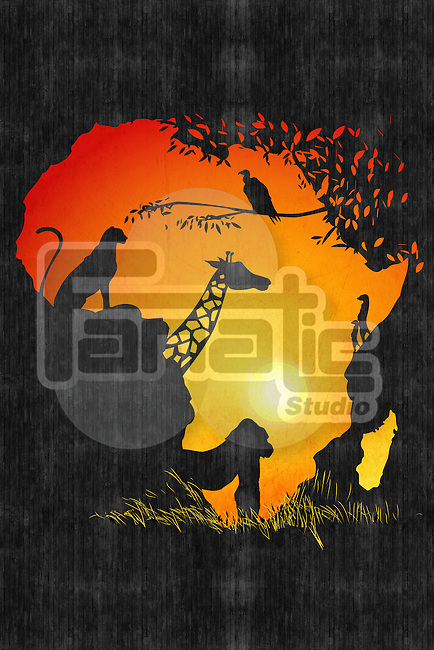 Illustrative image of animals in map of Africa