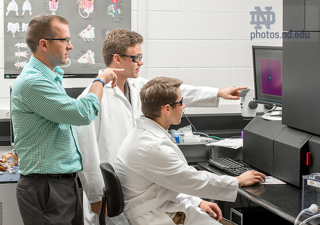 Sep. 30, 2014; Matt Leevy with undergraduate researchers in ND Imaging Facility, Galvin Life Science. (Photo by Matt Cashore/University of Notre Dame)