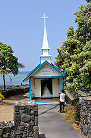 "A wedding taking place inside the tiny Catholic church officially called ""Saint Peter's by the Sea"". Built in 1880 on La'aloa bay,it was moved to its present location, on Kahalu'u bay, in 1912. It is commonly known as ""the little blue church"", and is a popular landmark of the area. Kona, Big Island, Hawaii RIGHTS MANAGED LICENSE AVAILABLE FROM www.PhotoLibrary.com"
