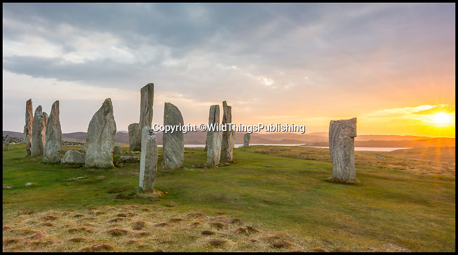 BNPS.co.uk (01202 558833)<br /> Pic: ChrisCoombe/WildThings/BNPS<br /> <br /> Callenish stone circle in Lewis.<br /> <br /> Walk back in Time - new travel book reveals Britain's ancient places.<br /> <br /> An explorer has travelled the length and breadth of Britain to document over 400 mysterious little known ancient sites.<br /> <br /> Dave Hamilton ventured off the beaten track to uncover wild ruins which have stood for between 2,000 and 10,000 years.<br /> <br /> He avoided famous sites like Stonehenge, instead focusing on little-known lost ruins scattered across the country.<br /> <br /> His travels saw him encounter sacred tombs and caves, stone circles, Bronze Age brochs and Iron Age hillforts.