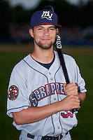 Mahoning Valley Scrappers outfielder Nathan Lukes (39) poses for a photo before a game against the Batavia Muckdogs on July 3, 2015 at Dwyer Stadium in Batavia, New York.  Batavia defeated Mahoning Valley 7-4.  (Mike Janes/Four Seam Images)