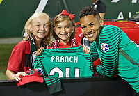 Portland, OR - Saturday August 19, 2017: Adrianna Franch with jersey auction winners during a regular season National Women's Soccer League (NWSL) match between the Portland Thorns FC and the Houston Dash at Providence Park.