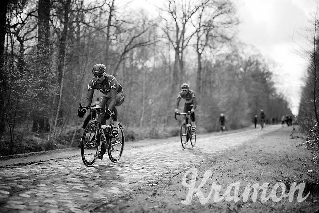Alexander Kristoff (NOR/Katusha) over the cobbles of sector 18: Trouée d'Arenberg (Bois de Wallers)<br /> <br /> recon of the 114th Paris - Roubaix