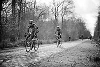 Alexander Kristoff (NOR/Katusha) over the cobbles of sector 18: Trouée d'Arenberg (Bois de Wallers)<br /> <br /> recon of the 114th Paris - Roubaix