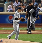 Masahiro Tanaka (Yankees), SEPTEMBER 18, 2015 - MLB : New York Yankees starter Masahiro Tanaka reacts after taking a groundout against the New York Mets in the fourth inning of a baseball game in New York, United States. (Photo by AFLO)