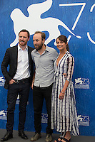 Alicia Vikander, Michael Fassbender &amp; Derek Cianfrance  at the photocall for The Light Between Oceans at the 2016 Venice Film Festival.<br /> September 1, 2016  Venice, Italy<br /> Picture: Kristina Afanasyeva / Featureflash