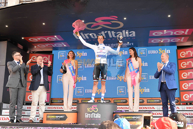 Bob Jungels (LUX) Quick-Step Floors wins the young riders classification Maglia Bianca at the end of Stage 21 the final stage of the 100th edition of the Giro d'Italia 2017, an individual time trial running 29.3km from Monza Autodrome to Milan Duomo, Italy. 28th May 2017.<br /> Picture: LaPresse/Gian Mattia D'Alberto | Cyclefile<br /> <br /> <br /> All photos usage must carry mandatory copyright credit (&copy; Cyclefile | LaPresse/Gian Mattia D'Alberto)